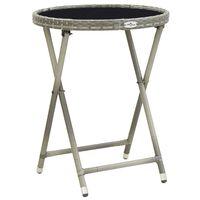 vidaXL Čajový stolík, sivý 60 cm, polyratan, tvrdené sklo