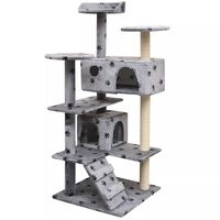 vidaXL Škrabadlo pre mačky so sisalovými stĺpikmi, 125 cm, sivé s potlačou labiek