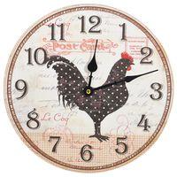 vidaXL Nástenné hodiny s dizajnom sliepky viacfarebné 30 cm MDF
