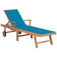 vidaXL Záhradné ležadlo s modrou podložkou tíkový masív