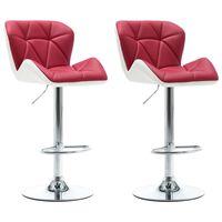 vidaXL Barové stoličky 2 ks vínovo-červené umelá koža