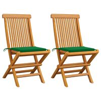vidaXL Záhradné stoličky, zelené podložky 2 ks, tíkový masív