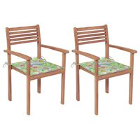 vidaXL Záhradné stoličky 2 ks listové podložky teakový masív