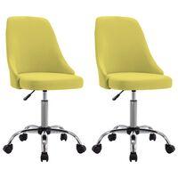 vidaXL Kancelárske stoličky na kolieskach 2 ks žlté látkové