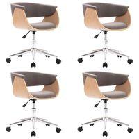 vidaXL Otočné jedálenské stoličky 4 ks, sivohnedé, látka