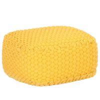 vidaXL Ručne pletená taburetka horčicovo žltá 50x50x30 cm bavlnená