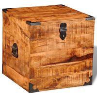 vidaXL Skladovacia truhlica v tvare kocky, surové mangové drevo