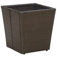 vidaXL Čajový stolík hnedý 41,5x41,5x44 cm polyratan a tvrdené sklo