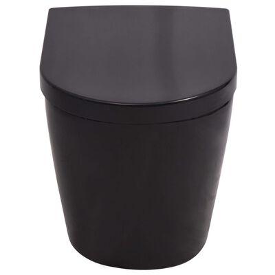 vidaXL Keramické závesné WC so skrytou nádržou čierne