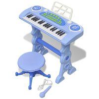 Detský klavír so stoličkou a mikrofónom, 37 klávesov, modrý