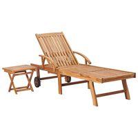 vidaXL Záhradné ležadlo so stolíkom, tíkový masív
