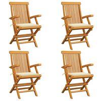 vidaXL Záhradné stoličky, krémové podložky 4 ks, tíkový masív