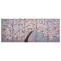 vidaXL Sada nástenných obrazov na plátne Kvitnúci strom rôznofarebný 150x60 cm