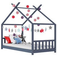 vidaXL Kids Bed Frame Grey Solid Pine Wood 90x200 cm