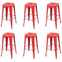 vidaXL Barové stoličky 6 ks, červené, oceľ