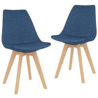 vidaXL Jedálenské stoličky 2 ks, modré, látka