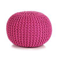 vidaXL Ručne pletená bavlnená taburetka, 50x35 cm, ružová