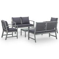 vidaXL 5-dielna záhradná sedacia súprava s podložkami akáciový masív sivá