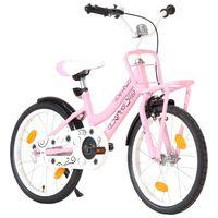 vidaXL Detský bicykel s predným nosičom 18 palcový ružový a čierny