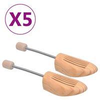 vidaXL Napínače do topánok, 5 párov, veľkosť 40-41, borovicový masív