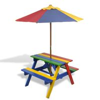vidaXL Detský piknikový stôl + lavičky a slnečník, rôznofarebný, drevo