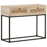 vidaXL Konzolový stolík 100x35x76 cm mangovníkový masív a prírodná trstina