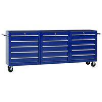 vidaXL Dielenský vozík s 15 zásuvkami modrý oceľový