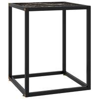 vidaXL Konferenčný stolík, čierny, čierne mramorové sklo 40x40x50 cm