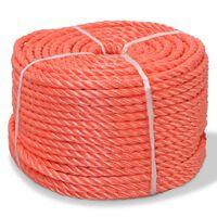 vidaXL Pletené lano polypropylénové 14 mm 100 m oranžové