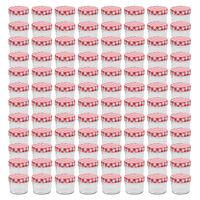 vidaXL Sklenené zaváracie poháre s bielo-červenými viečkami 96 ks 110 ml