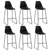 vidaXL Barové stoličky 6 ks, čierne, plast