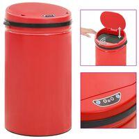 vidaXL Automatický odpadkový kôš, senzor 50 l, uhlíková oceľ, červený