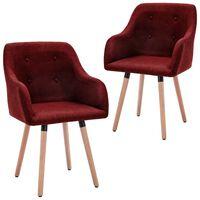 vidaXL Jedálenské stoličky 2 ks, vínovo červené, látka