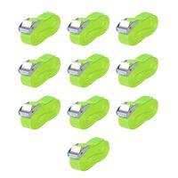 vidaXL Upínacie popruhy 10 ks, 0,25 tony,5mx25mm, fluorescenčná zelená