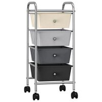 vidaXL Mobilný úložný vozík so 4 zásuvkami ombre plastový