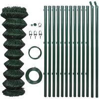 vidaXL Drôtené pletivo so stĺpikmi, oceľ 1,25x15 m, zelené