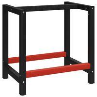 vidaXL Rám na pracovný stôl kovový 80x57x79 cm čierno-červený