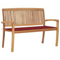 vidaXL Stohovateľná záhradná lavička s podložkou 128,5 cm tíkový masív
