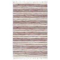 vidaXL Ručne tkaný koberec Chindi vínovo-biely 200x290 cm bavlnený