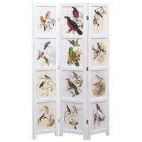 vidaXL 3-panelový paraván biely 105x165 cm vtáky