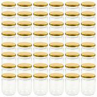 vidaXL Zaváracie poháre so zlatými viečkami 48 ks 230 ml sklo