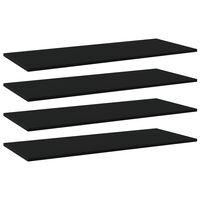 vidaXL Prídavné police 4 ks, čierne 100x40x1,5 cm, drevotrieska