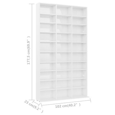 vidaXL Skrinka na CD, lesklá biela 102x23x177,5 cm, drevotrieska
