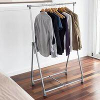 Storage solutions Stojan na oblečenie 4-kolesový kovový