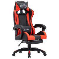 vidaXL Herná stolička s opierkou na nohy, červeno čierna, umelá koža
