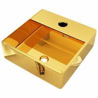 vidaXL Umývadlo s otvorom na batériu 38x30x11,5 cm keramické zlaté