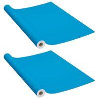 vidaXL Samolepiace tapety na nábytok 2 ks, azúrové 500x90 cm, PVC