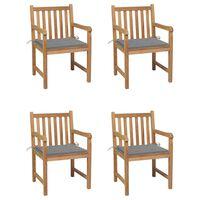 vidaXL Záhradné stoličky 4 ks so sivými podložkami teakový masív