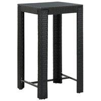 vidaXL Záhradný barový stolík čierny 60,5x60,5x110,5 cm polyratanový