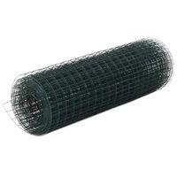 vidaXL Drôtené pletivo, oceľ potiahnutá PVC 25x0,5 m, zelené